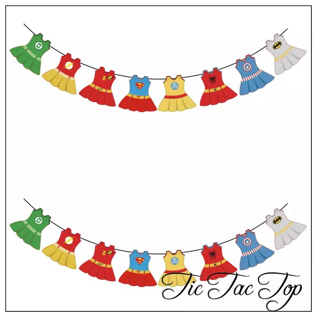 Superhero Baby Girls Bunting Flags Banner