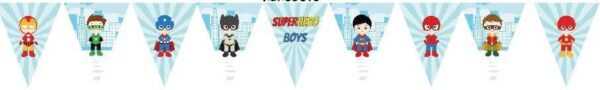 Superhero Boys Bunting Flags Banner