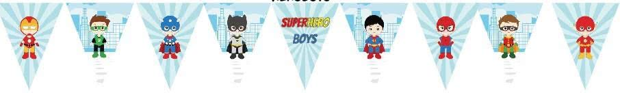 Superhero Boys Bunting Flags Banner