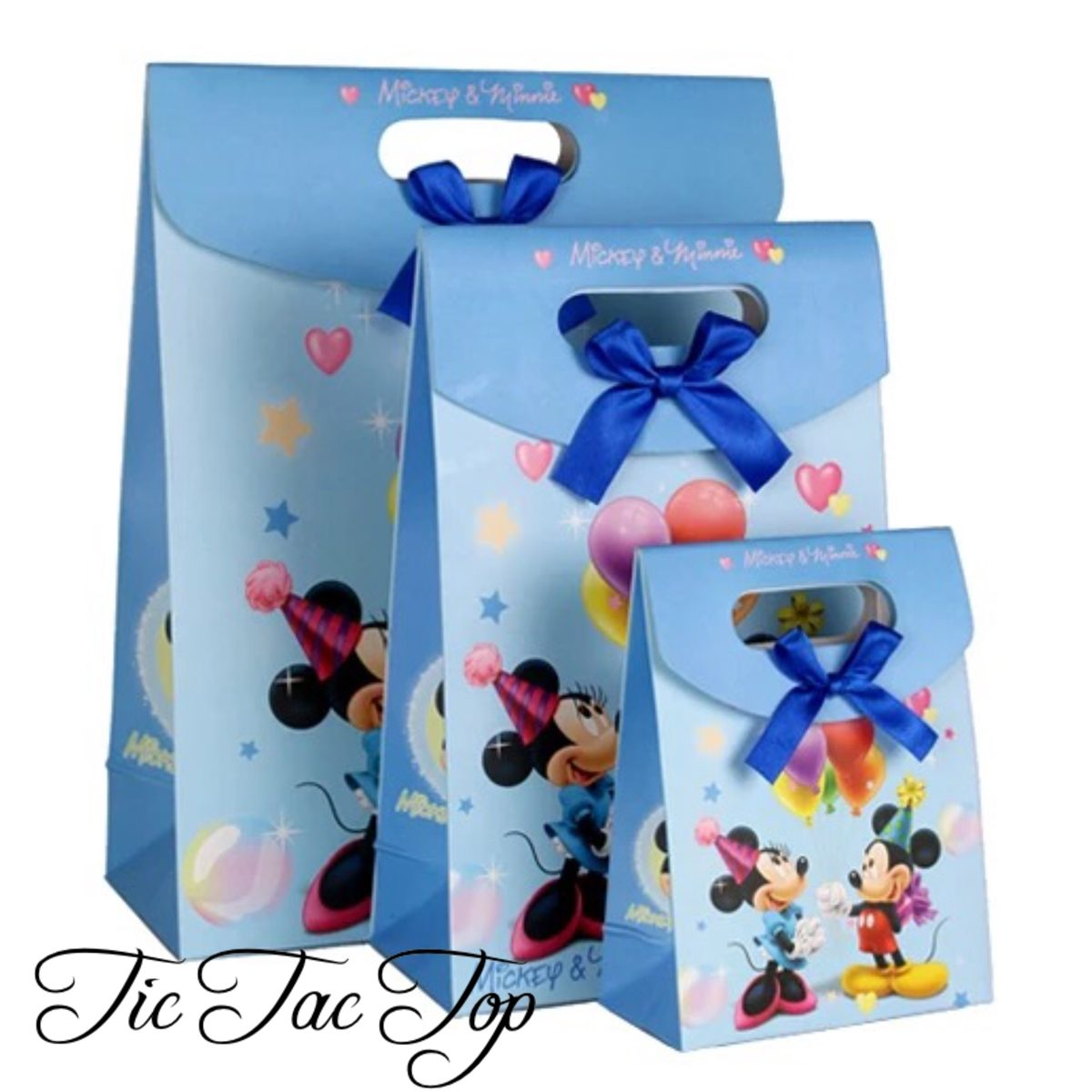 Mickey & Minnie Mouse Blue Balloons Gift & Lolly Bag - 6 Bags