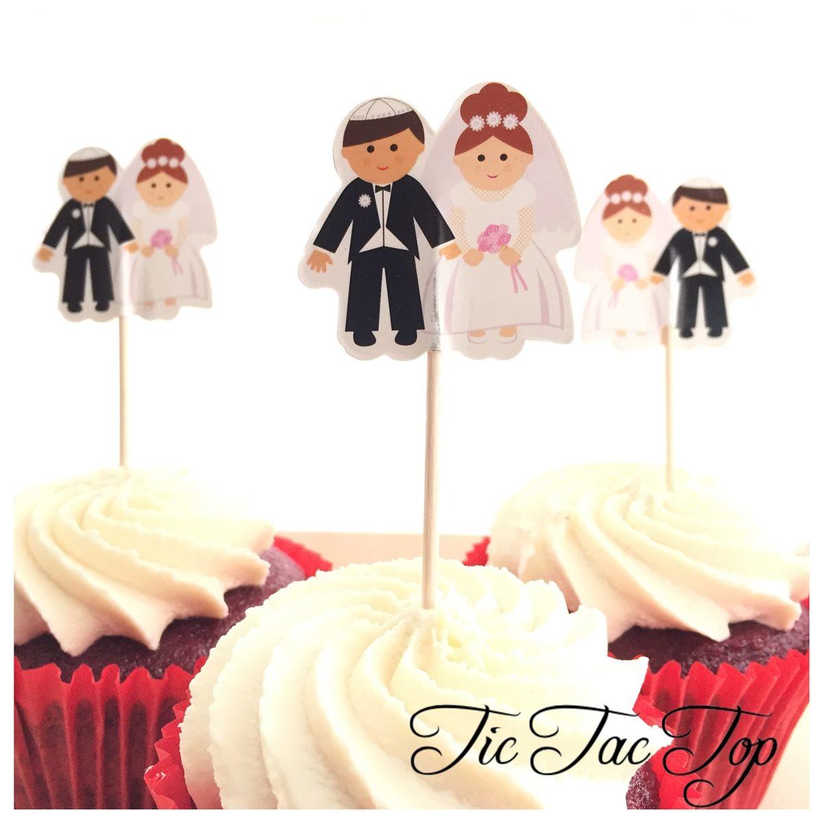 Bride & Groom Topper Picks - 12pcs