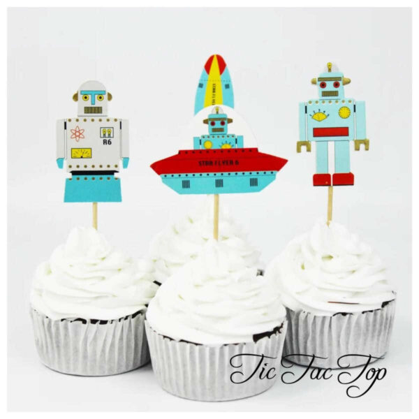 Spaceship & Robot Topper Picks - 12pcs