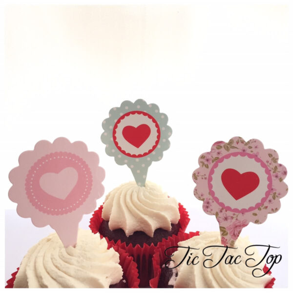 Love Heart Valentine Card Toppers - 12pcs