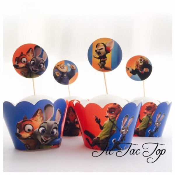 Zootopia Cupcake Wrappers + Toppers