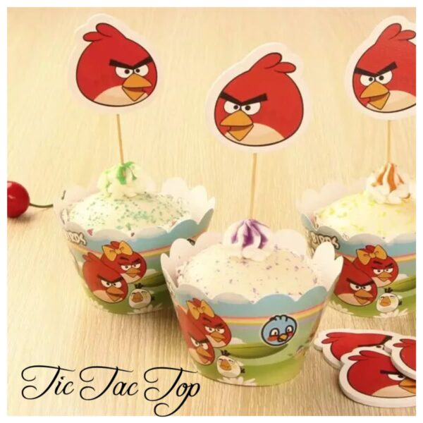 Angrybird Cupcake Wrappers + Toppers