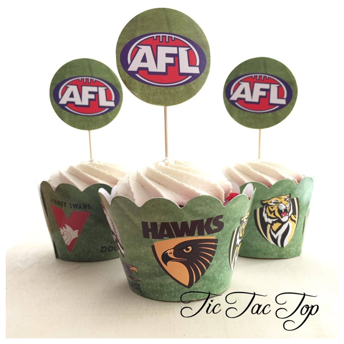 AFL Cupcake Wrappers + Toppers
