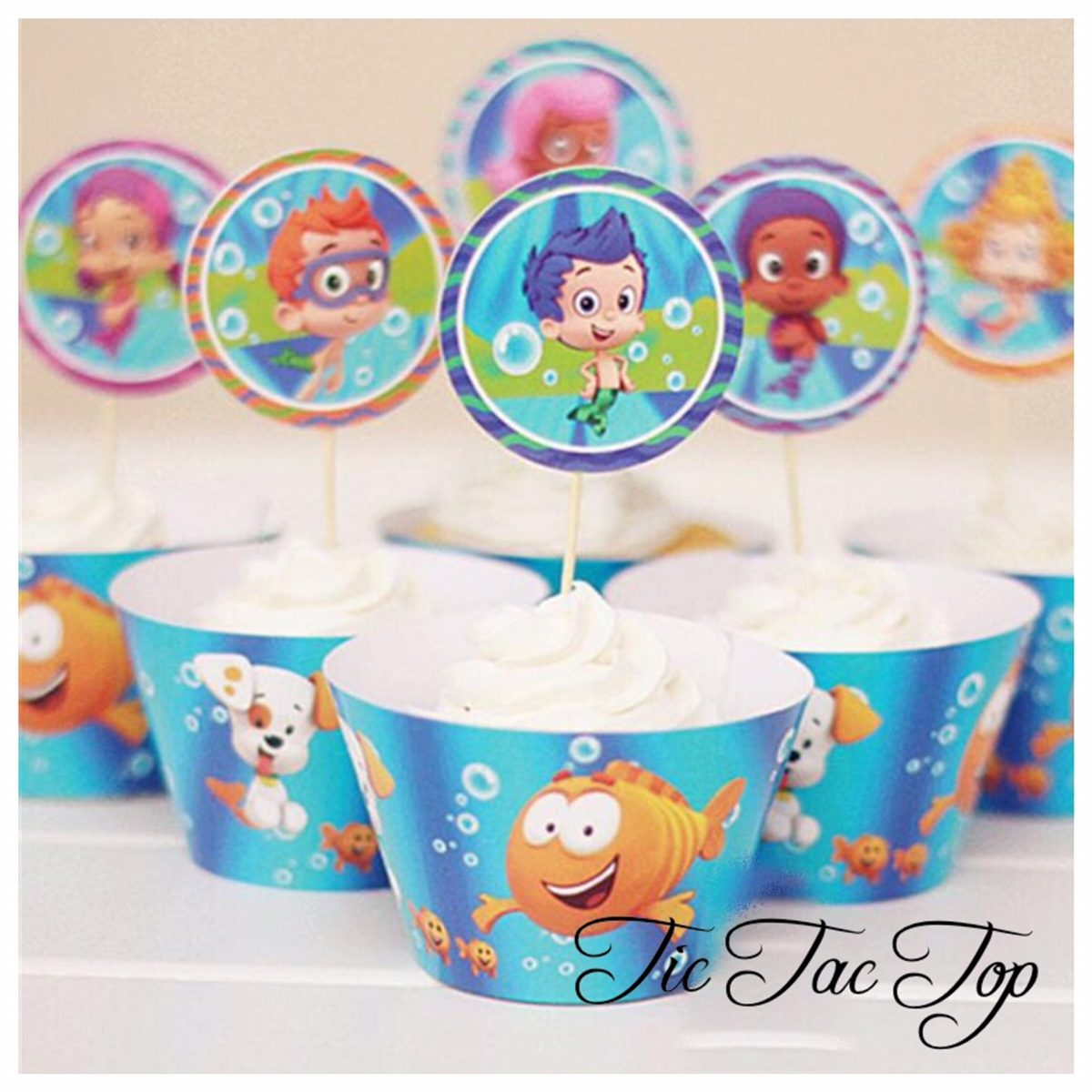 Bubble Guppies Cupcake Wrappers + Toppers
