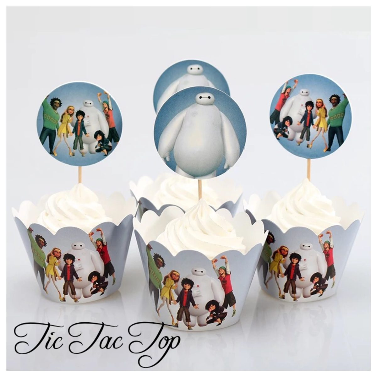 Big Hero 6 & Friends Blue Cupcake Wrappers + Toppers