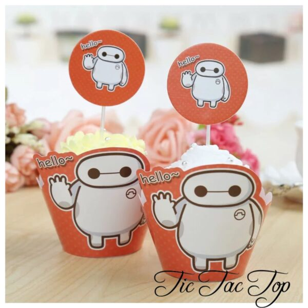 Big Hero 6 Hello Baymax Cupcake Wrappers + Toppers