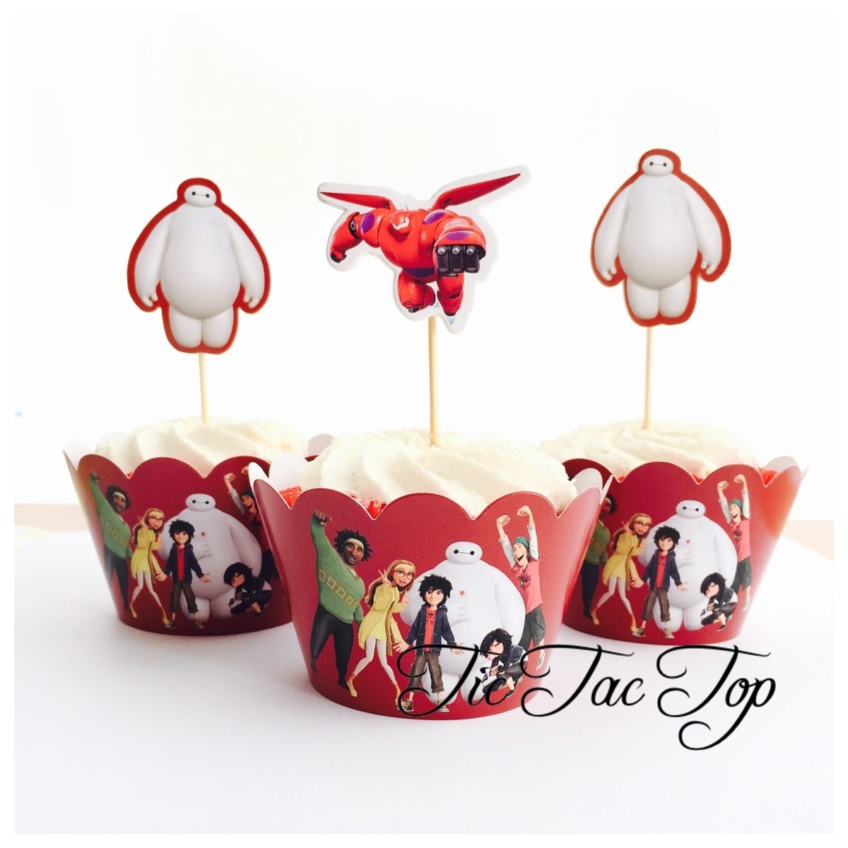 Big Hero 6 & Friends Red Cupcake Wrappers + Toppers