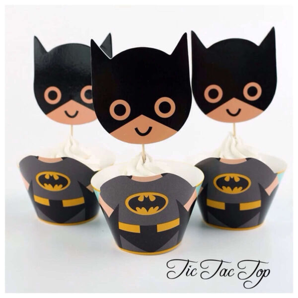 Batman Big Head SPECIAL EDITION Cupcake Wrappers + Toppers