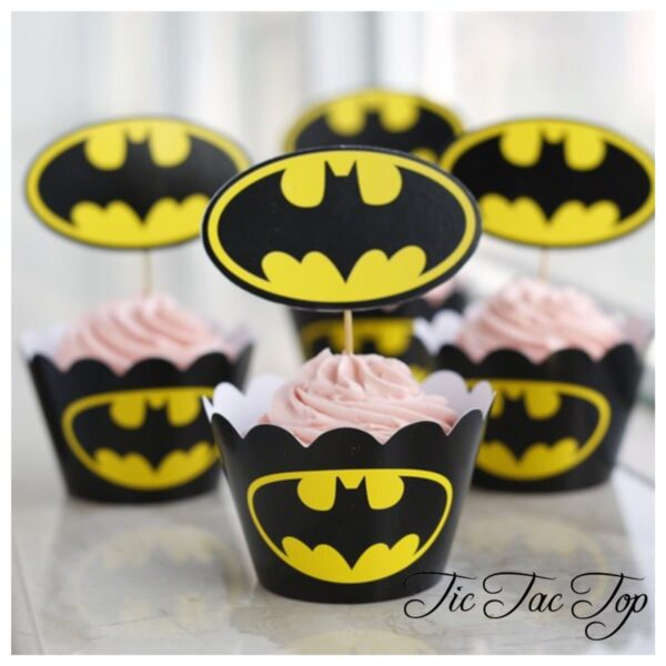 Batman Logo Cupcake Wrappers + Toppers