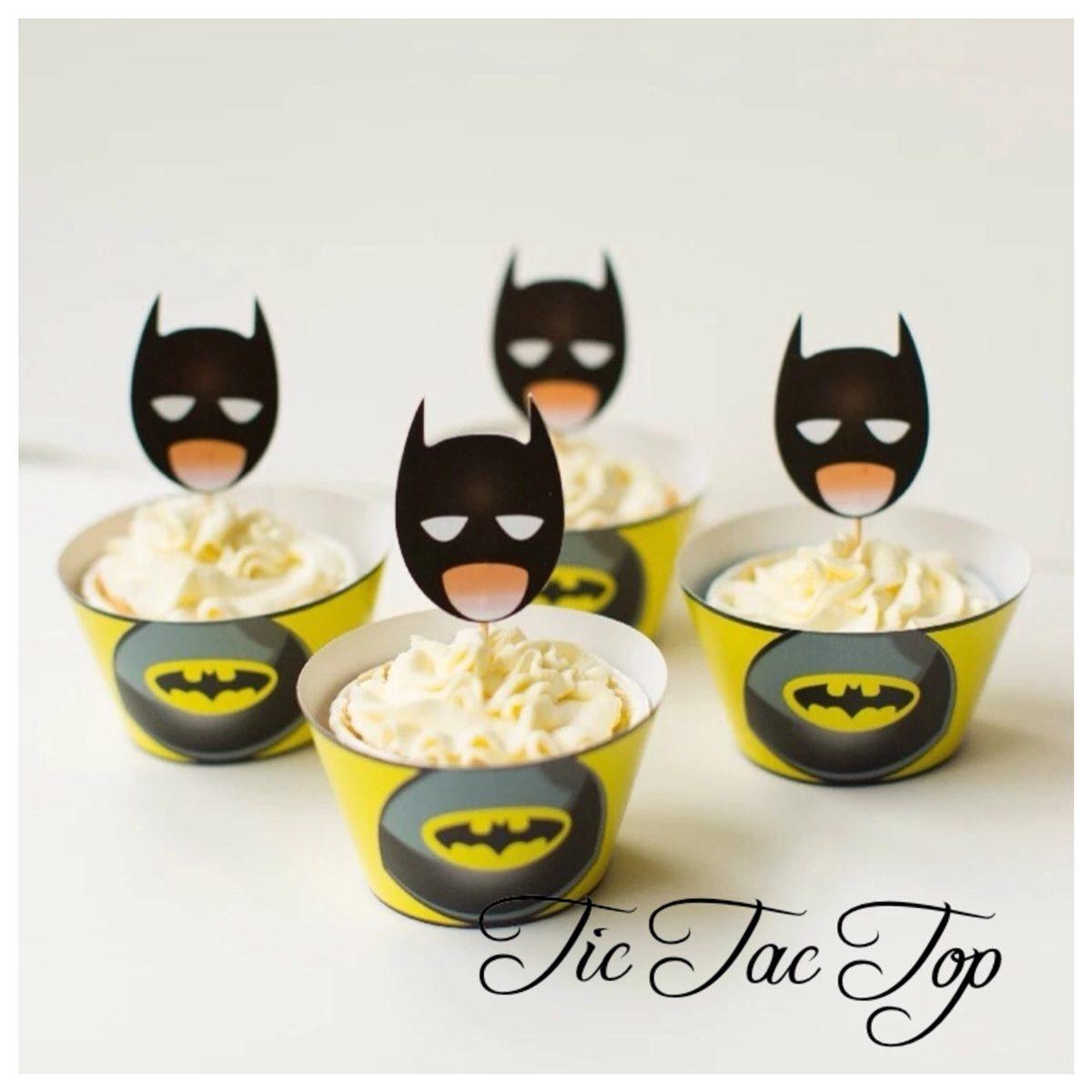 Batman Superhero Cupcake Wrappers + Toppers