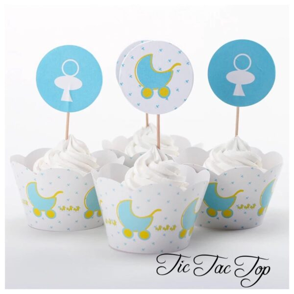 Shower Shower Stroller Cupcake Wrappers + Toppers
