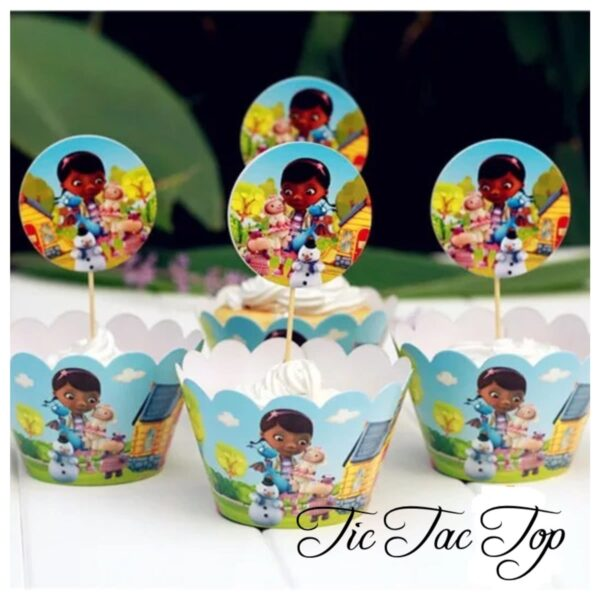 Doctor McStuffins Cupcake Wrappers + Toppers