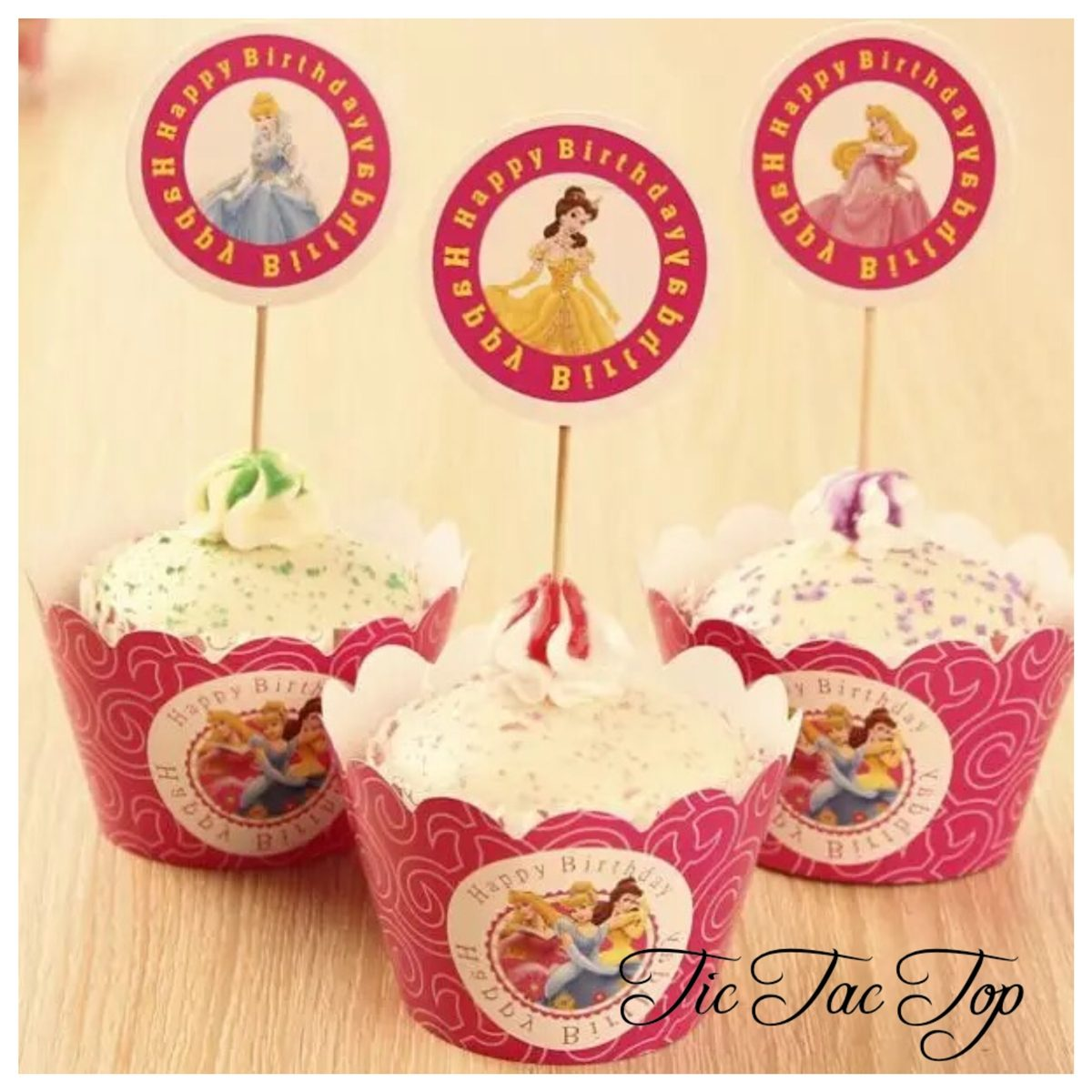 Disney Princess Cupcake Wrappers + Toppers