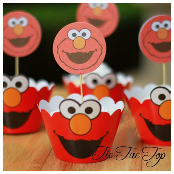Elmo Sesame Street Cupcake Wrappers + Toppers