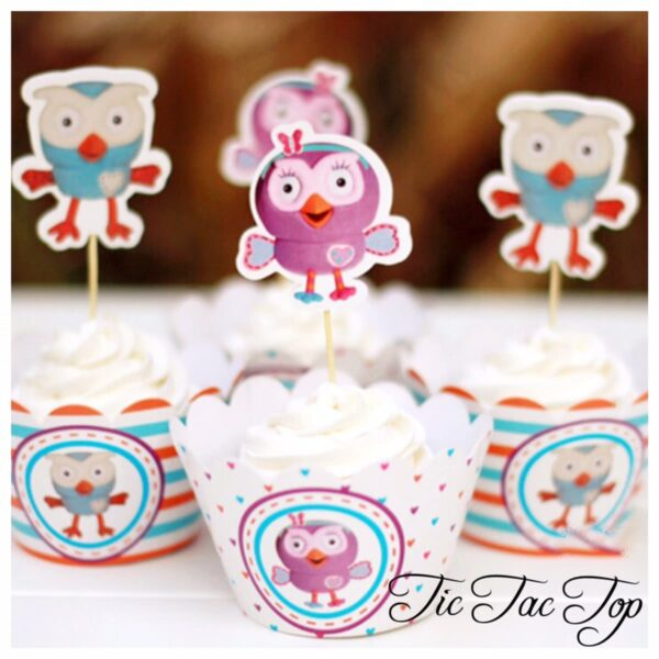 Giggle & Hoot & Hootabelle Cupcake Wrappers + Toppers