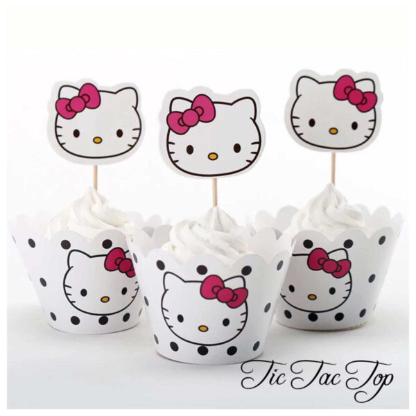Hello Kitty Spotty Cupcake Wrappers + Toppers