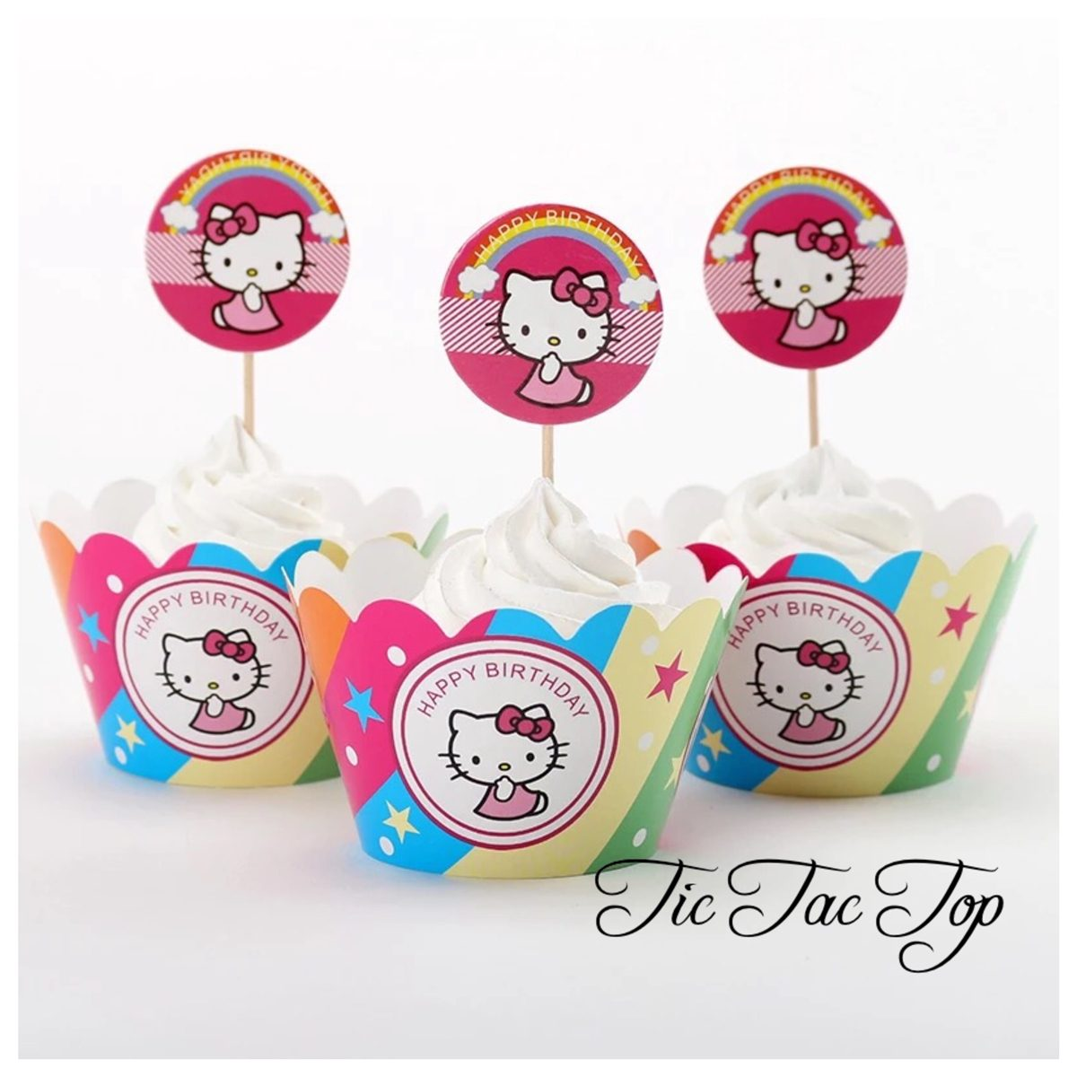 Hello Kitty Rainbow Cupcake Wrappers + Toppers
