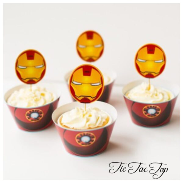 Ironman Avengers Cupcake Wrappers + Toppers