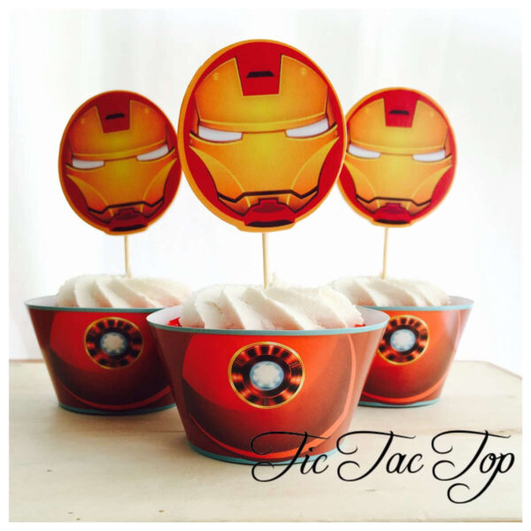 Ironman Avengers SPECIAL BIG HEAD EDITION Cupcake Wrappers + Toppers