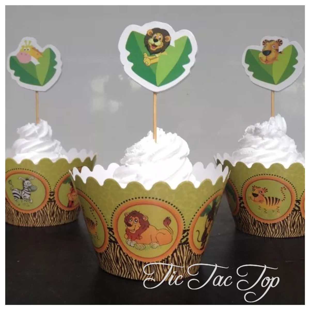 Jungle Animals Cupcake Wrappers + Toppers