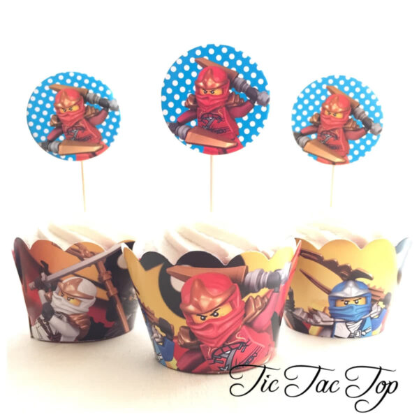 Lego Ninjago Cupcake Wrappers + Toppers