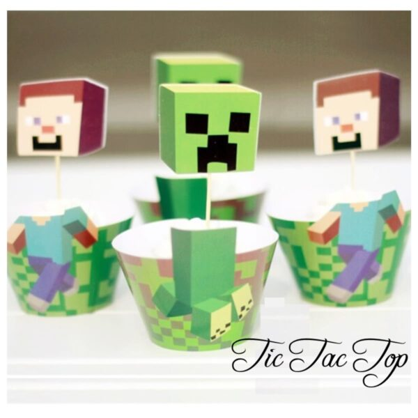 Minecraft Cupcake Wrappers + Toppers