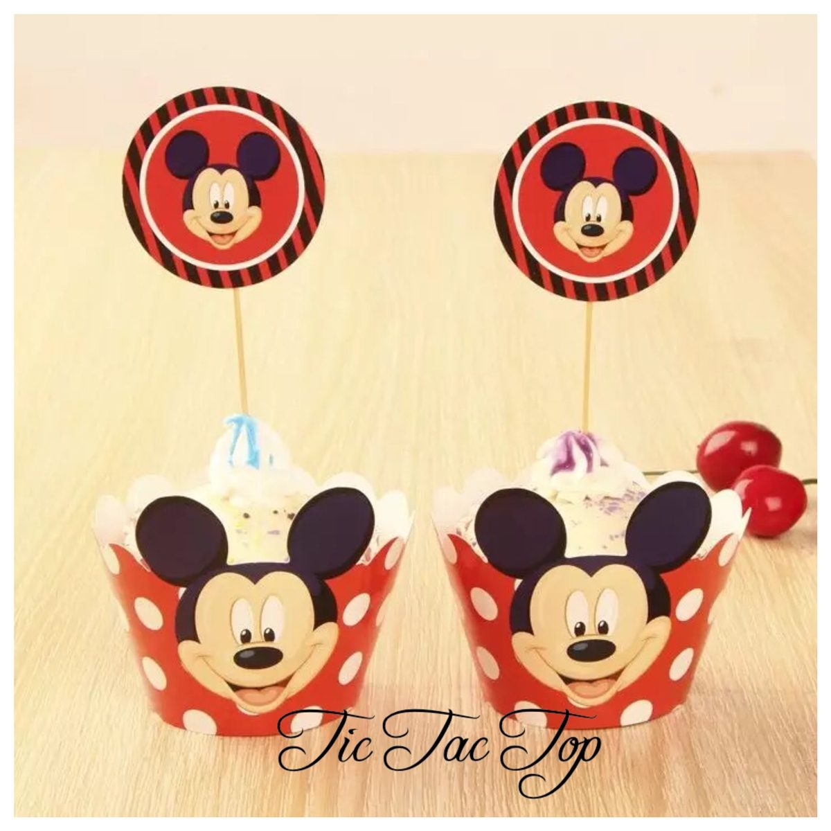 Mickey Mouse Spotty Cupcake Wrappers + Toppers