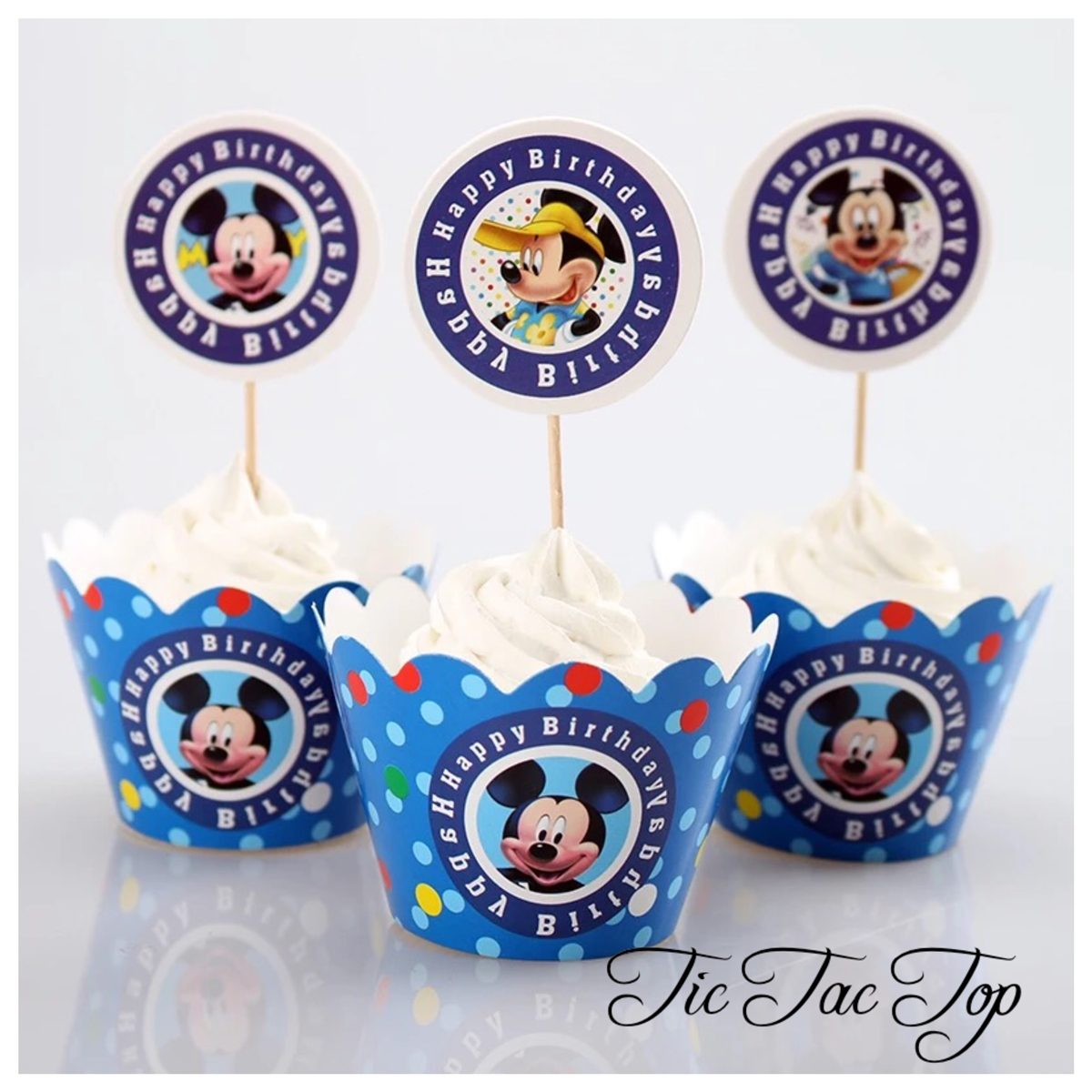 Mickey Mouse Blue Cupcake Wrappers + Toppers