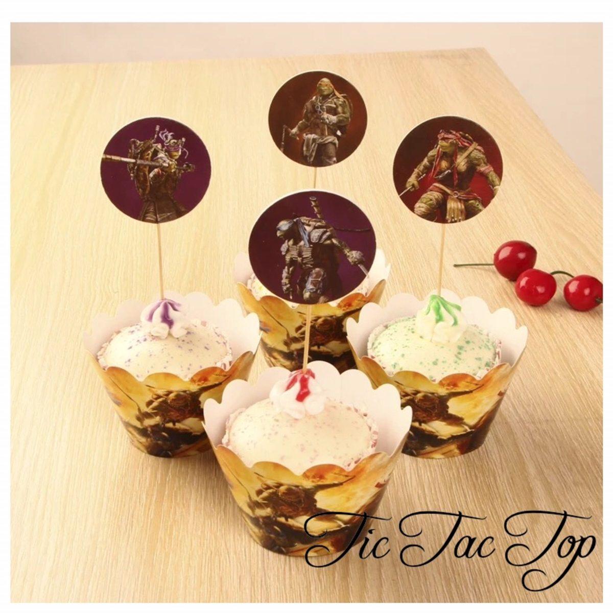 Teenage Mutant Ninja Turtle Cupcake Wrappers + Toppers