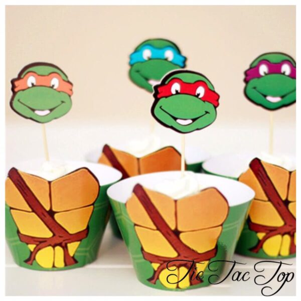 Ninja Turtle SPECIAL Cupcake Wrappers + Toppers
