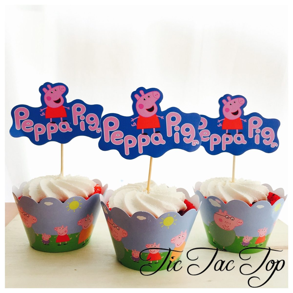 Peppa Pig & Family Cupcake Wrappers + Toppers