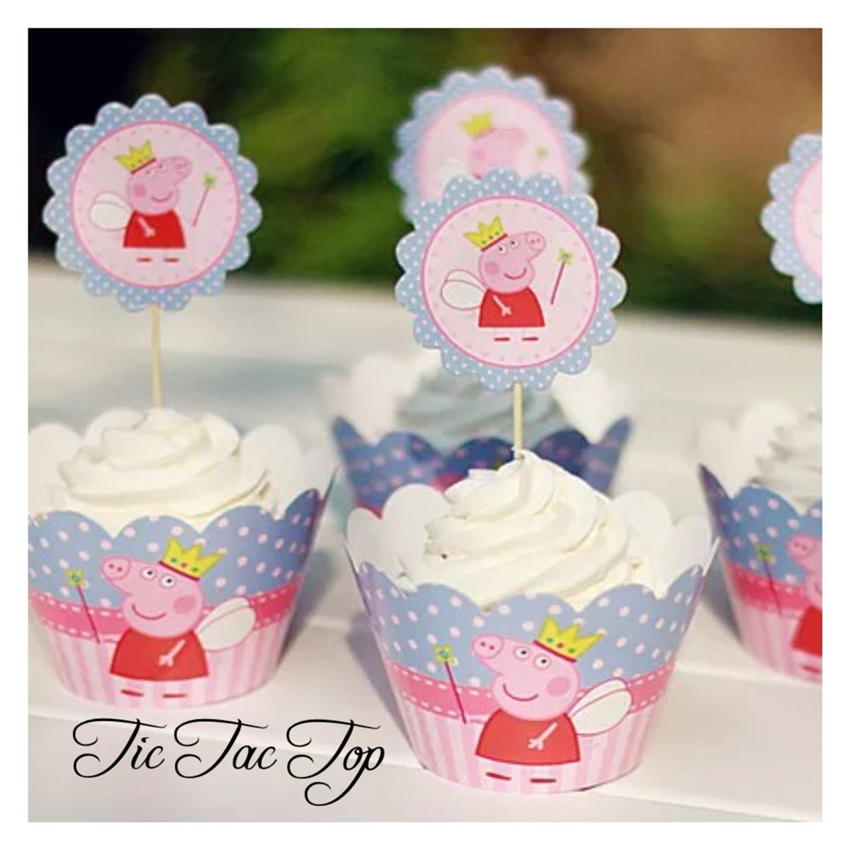 Fairy Peppa Pig Cupcake Wrappers + Toppers