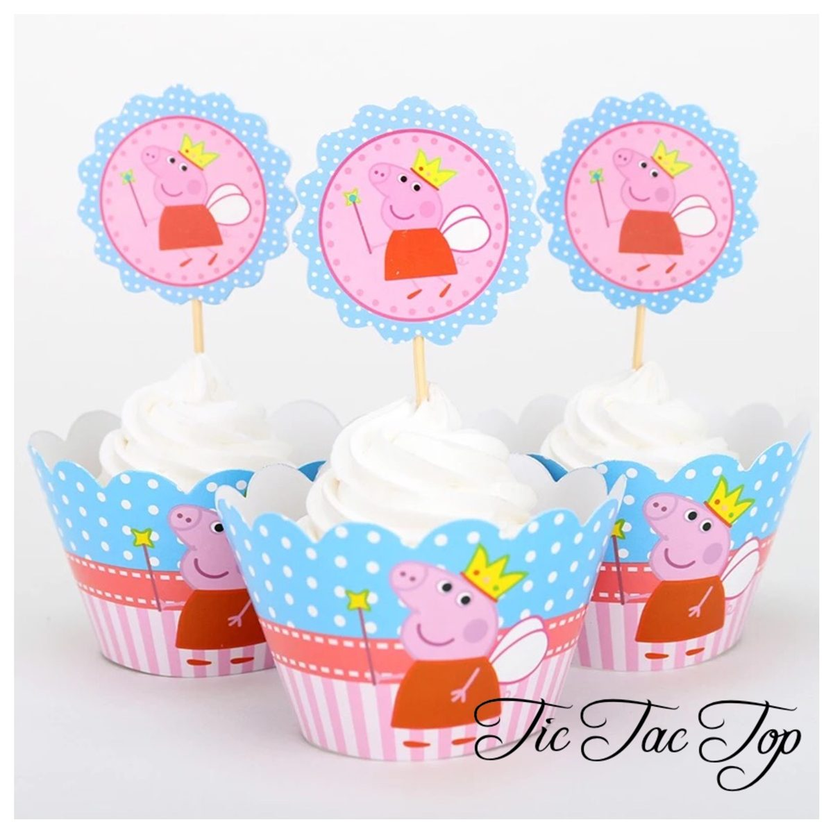 Flying Fairy Peppa Pig Cupcake Wrappers + Toppers