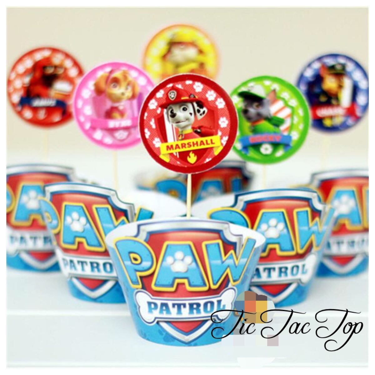 Paw Patrol Cupcake Wrappers + Toppers