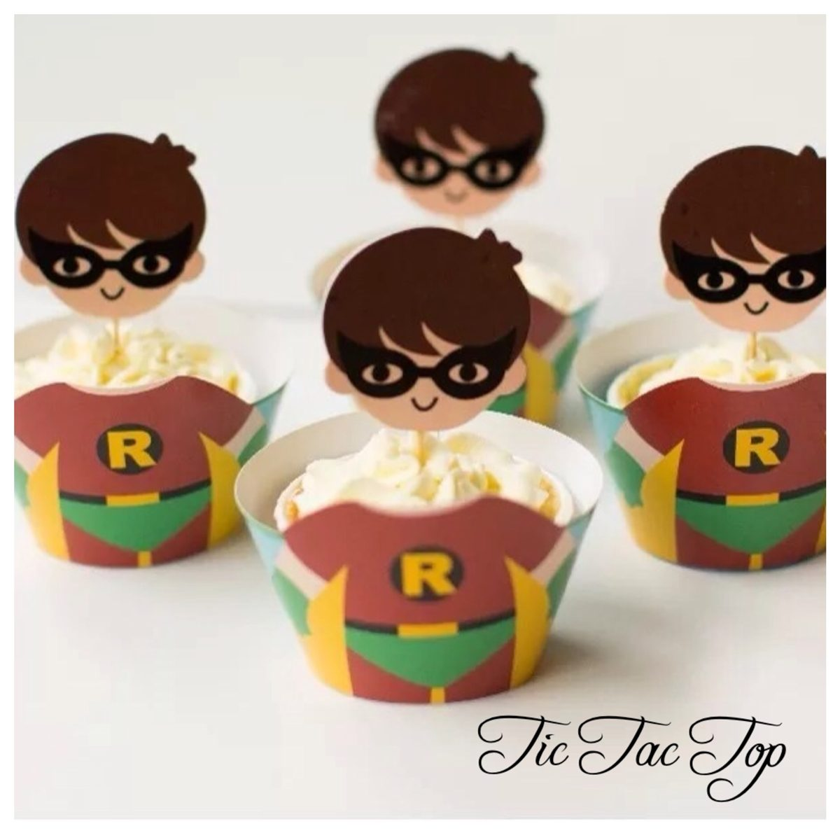 Robin BIG HEAD EDITION Cupcake Wrappers + Toppers