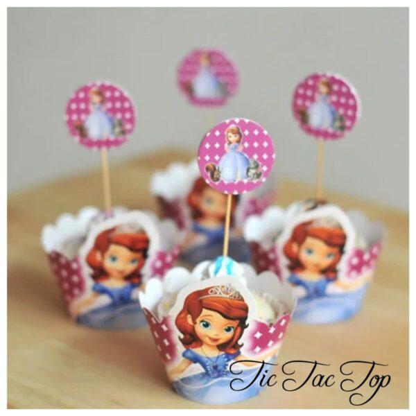 Sofia The First Cupcake Wrappers + Toppers