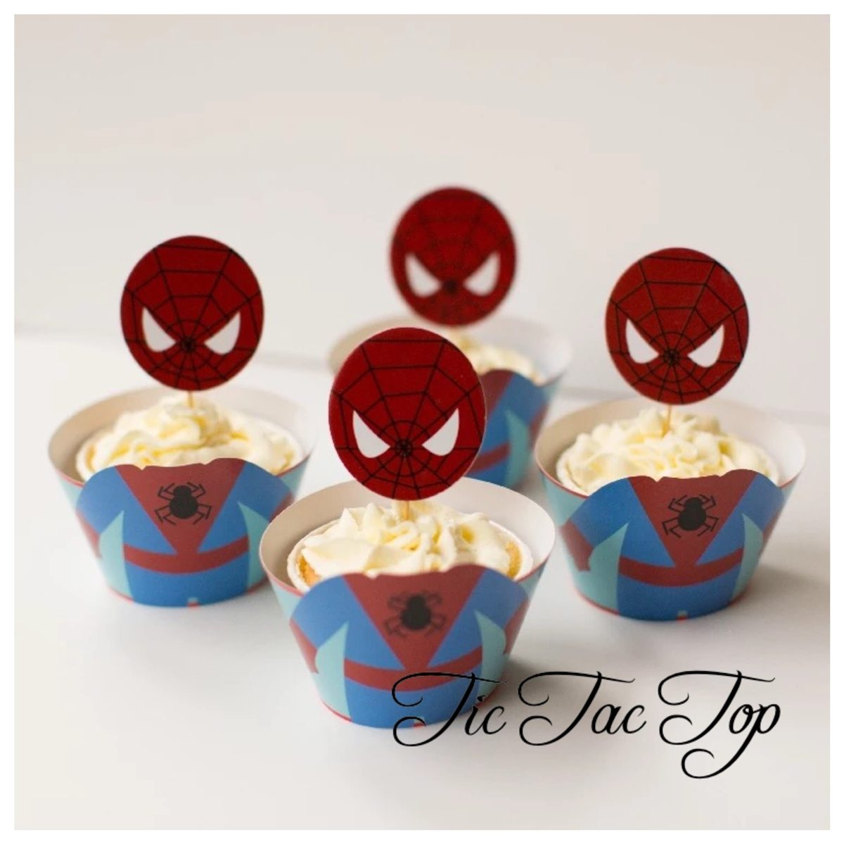 Spiderman BIG HEAD EDITION Cupcake Wrappers + Toppers
