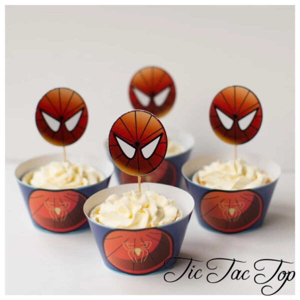 Spiderman Superhero Cupcake Wrappers + Toppers