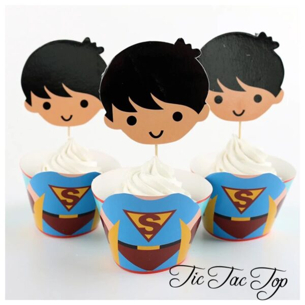 Superman BIG HEAD EDITION Cupcake Wrappers + Toppers