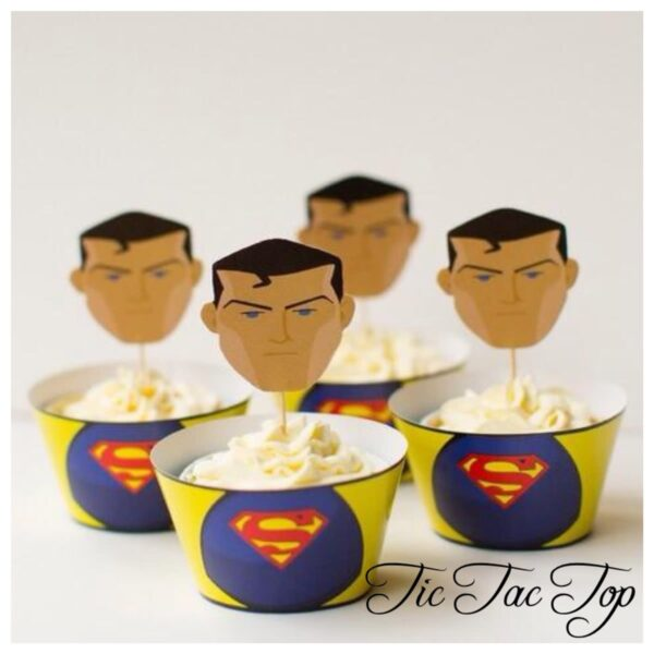 Superman Superhero Cupcake Wrappers + Toppers