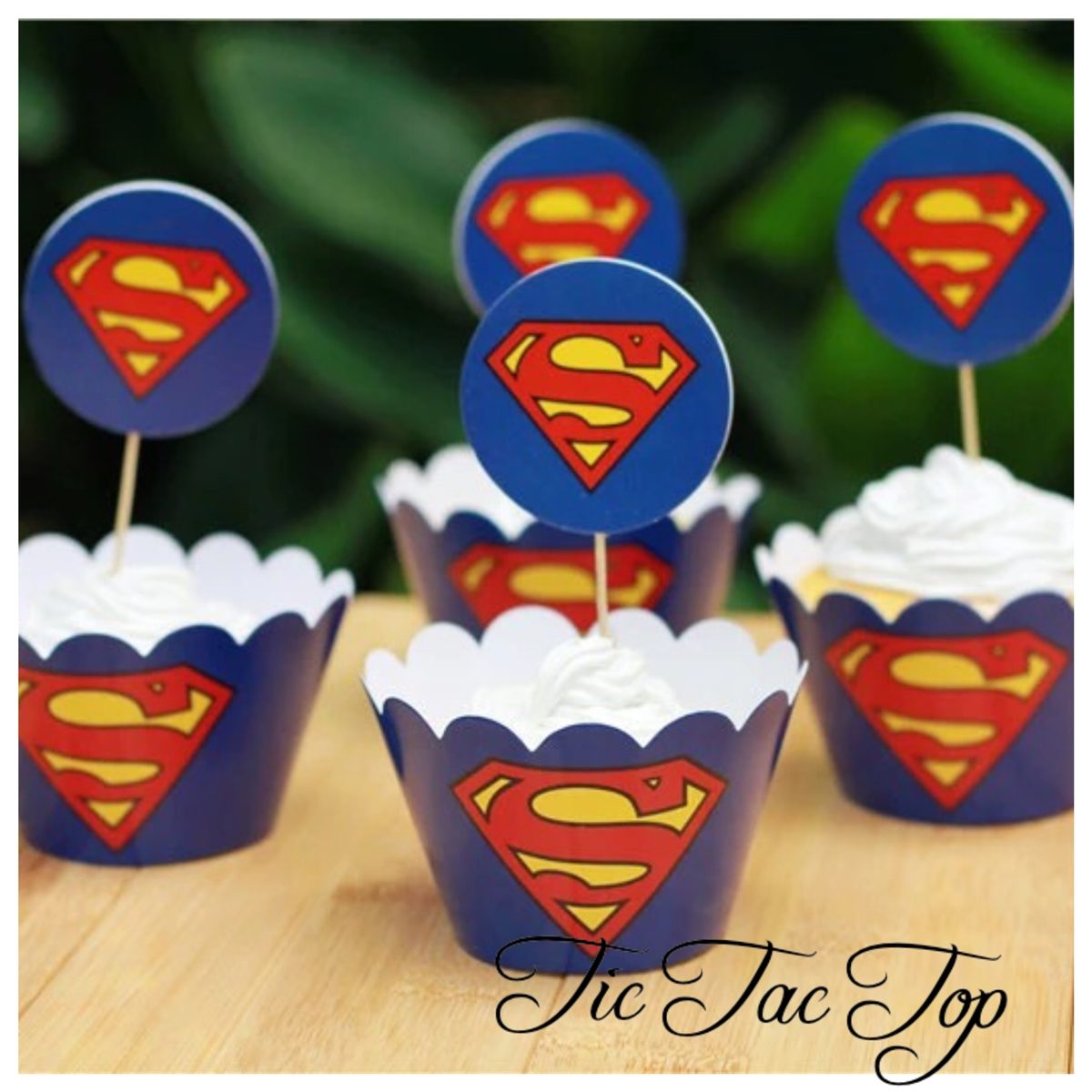 Superman Logo Cupcake Wrappers + Toppers