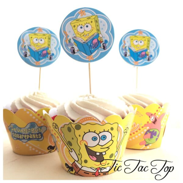 Spongebob SquarePants Cupcake Wrappers + Toppers