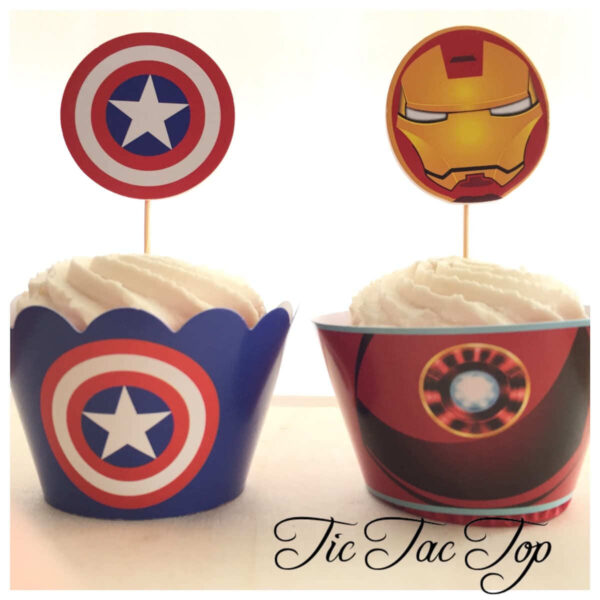 The Avengers Cupcake Wrappers + Toppers