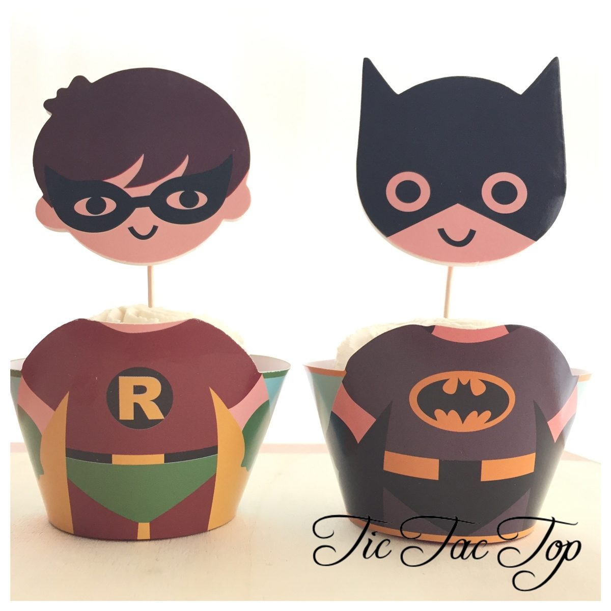 Batman & Robin Cupcake Wrappers + Toppers