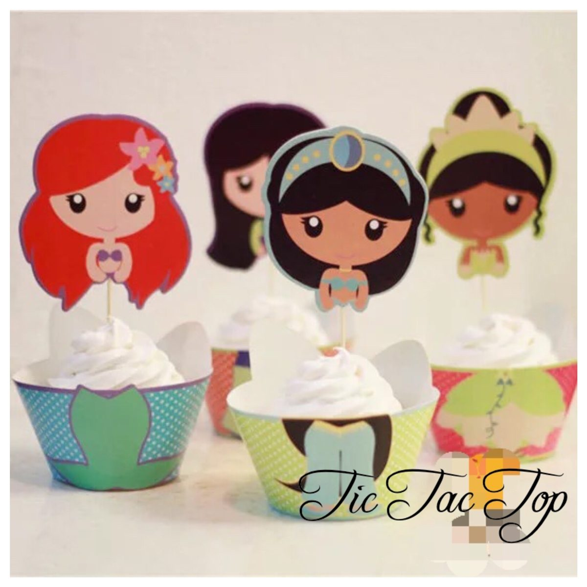 Disney Princesses SPECIAL EDITION Cupcake Wrappers + Toppers
