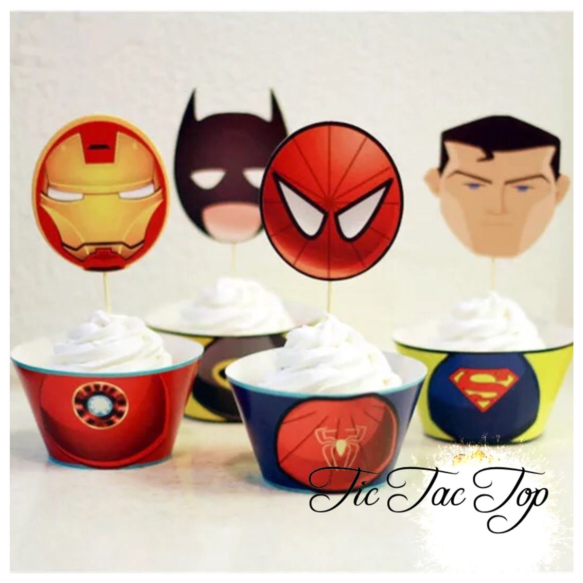 Superhero Avengers Cupcake Wrappers + Toppers