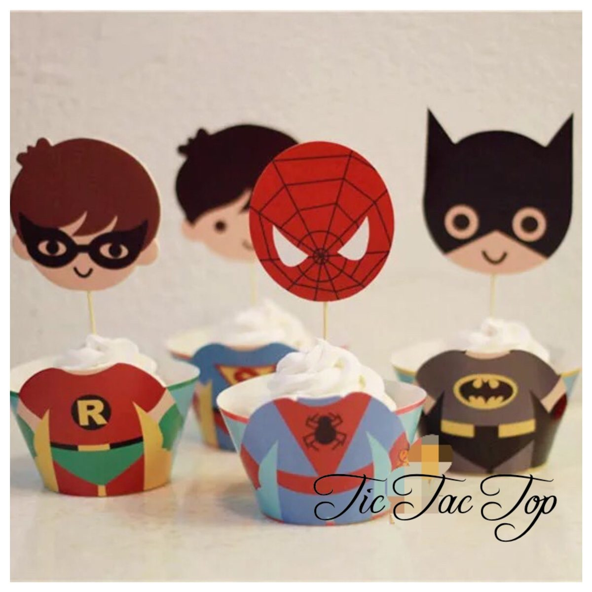 Superhero SPECIAL EDITION Cupcake Wrappers + Toppers